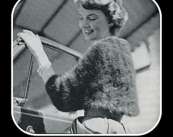 Vintage Knit Angora Shoulderette Pattern With Cuffs - Very Easy To Make - On Instant Download