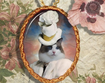 Ragdoll Cat  or Birman Cat Jewelry Pendant Necklace - Brooch Handcrafted Ceramic