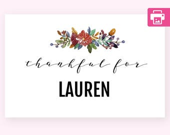 Seating Card Template, Place Cards Template, Placecard Template, Place Cards Thanksgiving, Seating Card, Floral Place Cards, Place Card