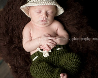 Off White Newborn Fly Fishing Hat, 0 to 3 month Baby Boy Fishing Hat