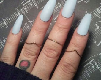 Matte Light Blue Coffin Nails, Pastel Blue Press/Glue on, Long or Short, Wedding, Acrylic False Fake Nails, Stiletto, Square, Oval, Glossy