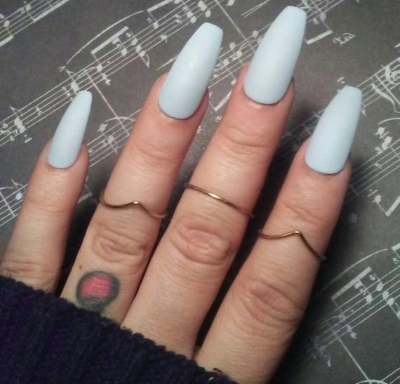 Matte Light Blue Coffin Nails, Pastel Blue Press/Glue on, Long or ...