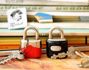 Mini Padlocks - Working Locks and Keys - Small Vintage Locks - Two Cute Padlocks Red and Black