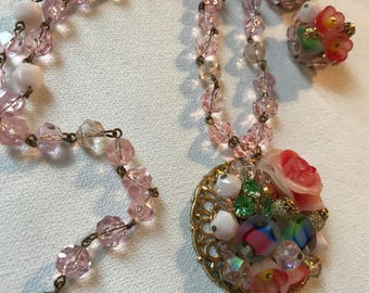 Vintage West German Necklace Set in the  Miriam Haskell Style Pretty Pink Floral Necklace & Cluster beaded Clip Earrings