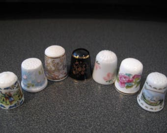 Vintage Assortment of Seven China Thimbles From Different Countries