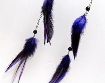 Feather Earrings - Long Purple Feather Earrings, Beaded Chain Earrings - Violet Goddess