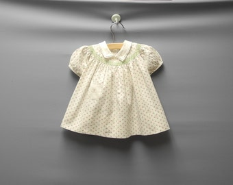 Vintage Baby Clothes, 1950's Cream, Green and Pink Baby Girl Dress, Vintage Baby Dress, Cotton Baby Dress, Cream Baby Dress, Size 0-3 Months