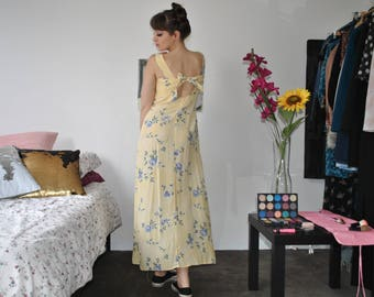 VINTAGE FLORAL yellow bow tie back maxi dress