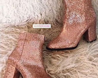 Glitter Bootie - Ankle Boots - Rose gold Booties -Pink Peach  - MINA Holiday Collection - Hand Made in Mexico
