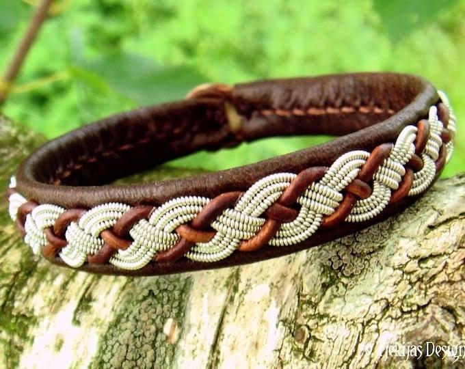 Viking Leather Bracelet VALHAL Brown Reindeer Sami Bracelet Tennarmband Handmade to Your Wishes