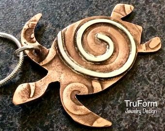 TRIBAL SEA TURTLE Pendant, Totem Animal, Sea Turtle Jewelry, Unisex Jewellery, Mixed Metal Pendant, Turtle Spirit, Earthy Jewelry, STT64
