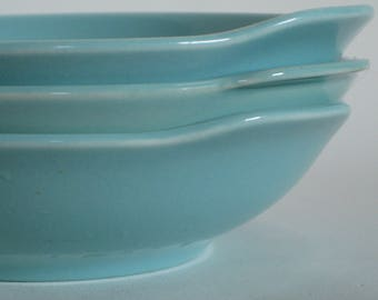 Vintage Ballerina bowls, Union made in USA, Robins egg blue, turquoise ceramic, 3 included