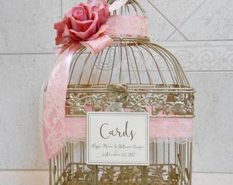 Champagne Gold & Pink Wedding Birdcage Card Holder | Wedding Card Box | Birdcage Card Holder | Custom Wedding Decor