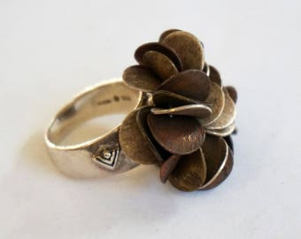 STERLING SILVER RING, Old estate ring, Petal ring, Unique ring, Rare ring, Heavy ring Size 6.75 Women gift Holiday gift idea Gift under 130