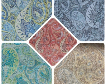 """54"""" Wide Alamo Paisley Green Teal Beige Gray Mustard Red Blue Chartreuse Navy Upholstery Drapery IL7"""