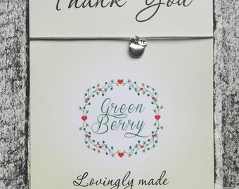 Apple charm string bracelet on a thank you quote card - perfect for teachers