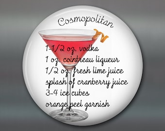 home bar accessories - Cosmopolitan cocktail recipe refrigerator magnet for the kitchen - stocking stuffers for women - MA-1649