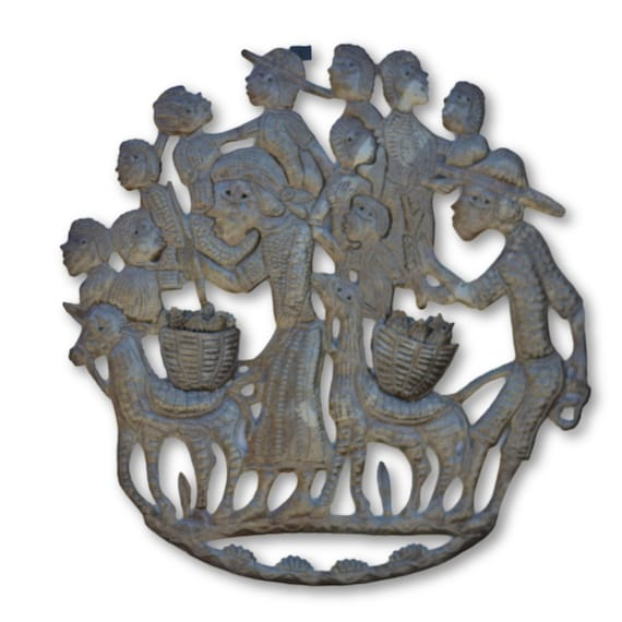 Farmers With Kids, Quality Handcrafted Haitian Metal, One-of-a-Kind 22 x 21