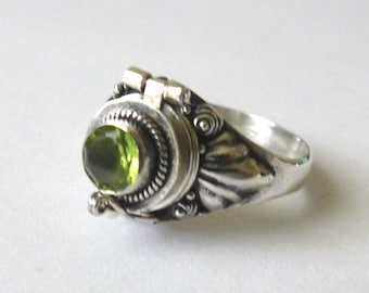 Small Poison Ring Bali Sterling Silver Locket Ring with green peridot August birthstone AR11