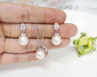 Bridesmaid gift set- initial necklace, Pearl Earrings, Swarovski Pearl Earrings, cubic zirconia earrings, bridesmaid gift, pearl necklace