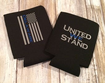 Thin Blue Line Neoprene Beverage Can Holder, United We Stand Can Holder, Police Can Holder, Police Support Can Holder