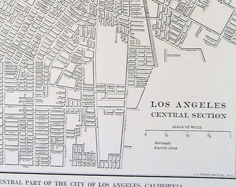 Los Angeles, California Central Section City Map 1928 Vintage Map from World Atlas