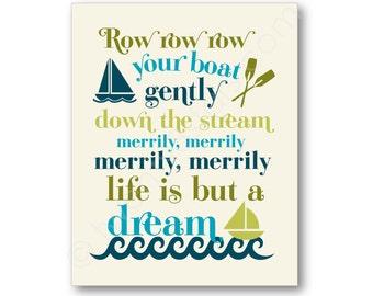 Row Your Boat Art, Boat Nursery Wall Art, Row Your Boat Canvas, Row Your Boat Art Print, Row Your Boat Poster, Nursery Rhyme Typography Art