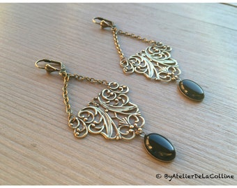 Alexine Art Nouveau earrings, with black agate cabochon