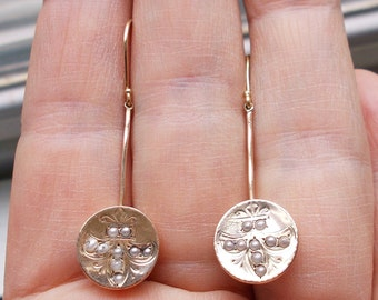 Antique solid 14k and 10k yellow gold French style Fleur-de-Lys pendant earrings