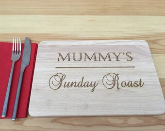 Personalised Wooden Engraved Placemat - Sunday Dinner - any name - family set