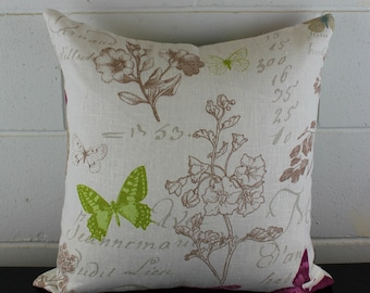 French Linen Whimsical Butterfly Floral Garden Design Exclusive Cushion Pillow Cover by Peacock and Penny. 45cms x 45cms