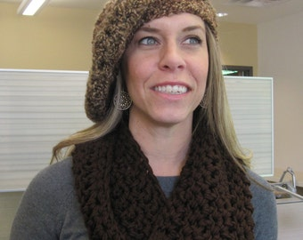 Crochet Slouchy Tam - Mixed Browns