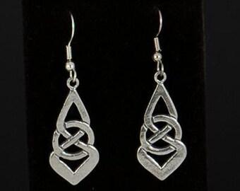 Elegant pewter Celtic knot drop earrings by Sylvan Creations.