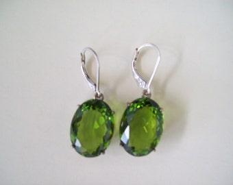 Sterling Silver Earrings - Peridot Green