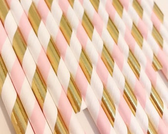 Pink and Gold Straws, Pink and Gold Striped Straws, Engagement Party Decor, Wedding Decor, Pink and Gold Party, Baby Shower Decor, Bridal
