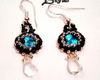 Small Beaded Earrings Beadwork Earrings, Beading Rivoli Earrings, Small Dangling Earrings, Beading Earrings  blue - silver - black
