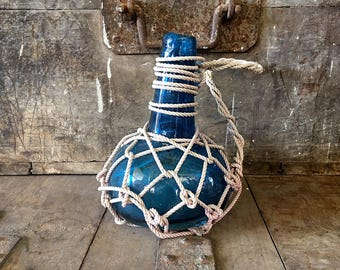 Beach Decor Ocean Waves 1 Glass Pirates Rum Jug in Rope Netting by SEASTYLE