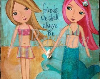 Mermaid Print, Mermaid Decor, Kids Wall Art, Beach wall art, Beach Decor, Print Sizes 5x7 and 8x10
