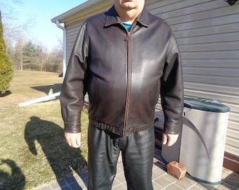 Mans vintage 80s leather jacket,coat,by St.Johns Bay XL or 50 ,nicer quality