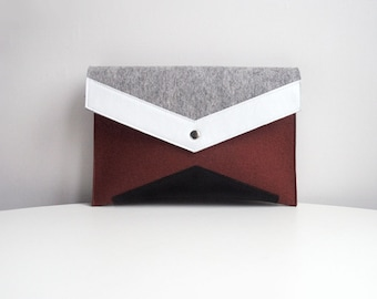 Brown Gray White Black Felt Leather Clutch Bag