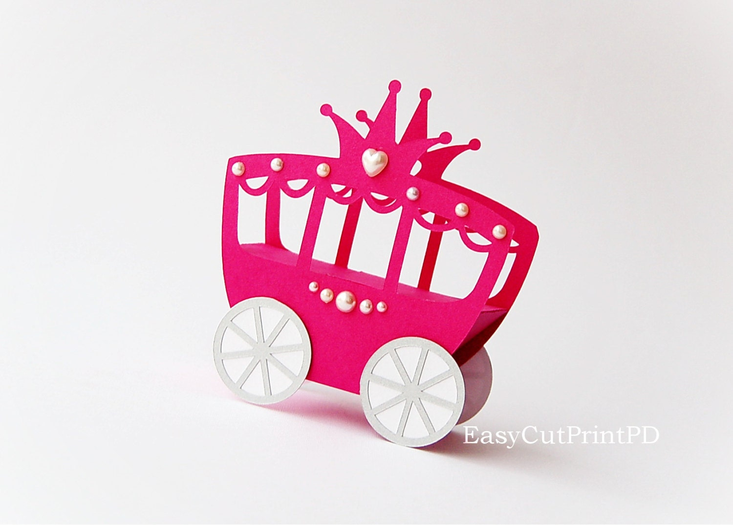 Princess Carriage box template Studio V.3 DXF SVG baby