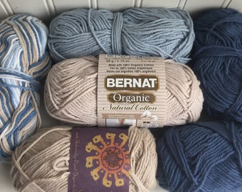 Destash sale organic cotton yarn—5.5 skeins—discontinued Bernat and Mirasol Sampa in blues and tan colors