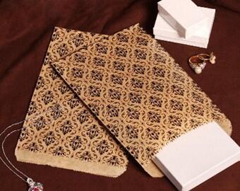 50 Kraft Damask Print 4x 6 Kraft Paper Gift Bags, Envelopes, Merchandise Bags, Favor Bags Candy Bag ,  Wedding Favors, Party Supplies