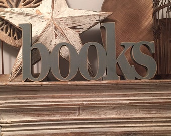 Painted Wooden Letters - books - 15cm - Georgian Font - joined, Free-standing, hand-painted
