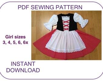 DIRNDL pdf pattern Girls sizes 3-6x Little Red Riding Hood Dirndl tutorial Dirndl costume Dirndl Oktoberfest pattern Folk dress PDF pattern