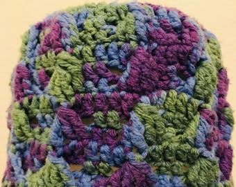 Knit Purple, Blue and Green Beanie