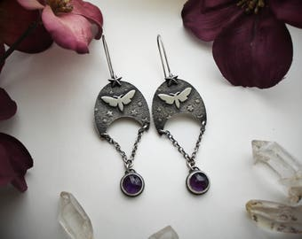 Moth Earrings with Faceted Amethyst - Sterling Silver Crescent Moon and Star Jewelry - Artisan Silvermsmith Purple Gemstone Earrings -