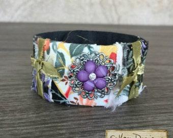 Leather Cuff - Purple Flower