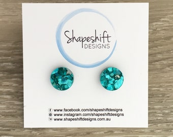 Chunky Turquoise Glitter Stud Earrings - Acrylic - Round 12mm