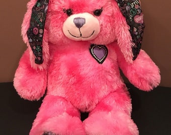 Build A Bear Pink Best Friends Peace Bunny Rabbit Plush w/ Love Bracelet
